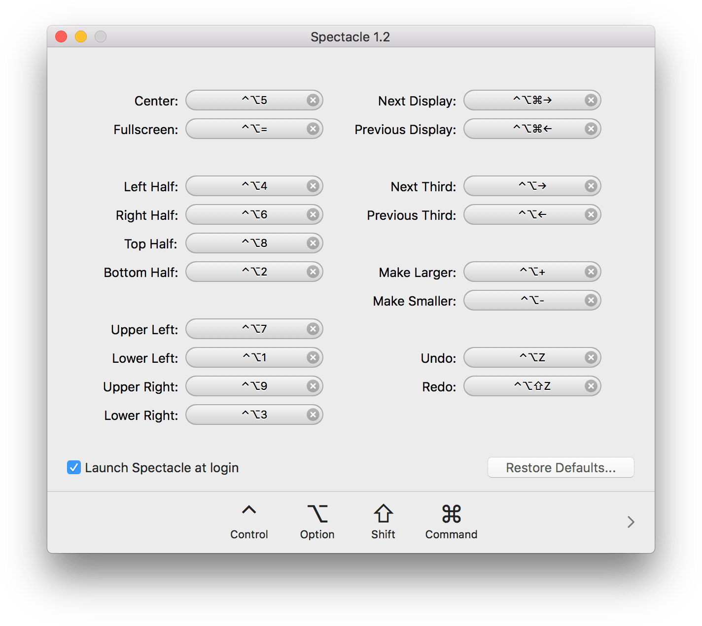 Spectacle Settings